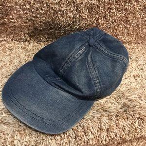 Denim distressed baseball cap